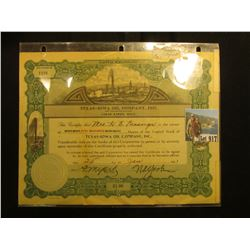 "1921 Stock Certificate for 500 Shares of ""Texas-Iowa Oil Company, Inc….Cedar Rapids, Iowa"" upper cen"