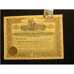 "Unissued Stock Certificate for Capital Stock in ""People's Moving Picture Corporation…of New York"", u"