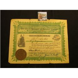 "1907 Stock Certificate for 500 Shares of Capital Stock in ""The Electric Signagraph and Semaphone Com"