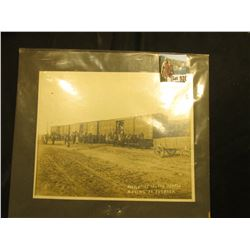 "Large black and white photo of ""Muscatine Island (Iowa) People Moving to Florida"" on three Railroad"