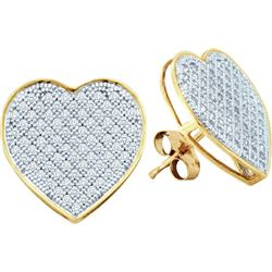 0.02CT Diamond Heart 10KT Earrings Yellow Gold