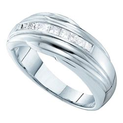 0.50CT Diamond Mens 14KT Ring White Gold