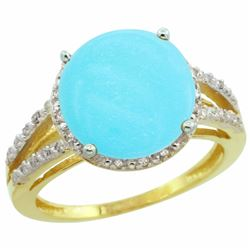 Natural 5.34 ctw Turquoise & Diamond Engagement Ring 14K Yellow Gold - SC-CY418110-REF#60W2K