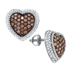 1.30CTW White and Champagne Diamond Heart 10KT Earrings White Gold