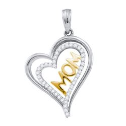 0.20CT Diamond Heart 10KT Pendant 2Tone Gold