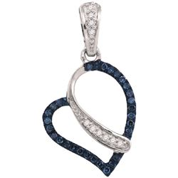 0.10CTW White and Blue Diamond Heart 10KT Pendant White Gold