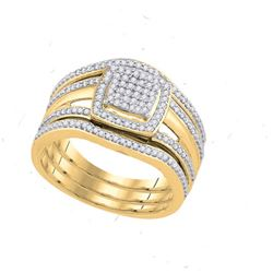 0.35CT Diamond Micro-Pave 10KT Ring Yellow Gold
