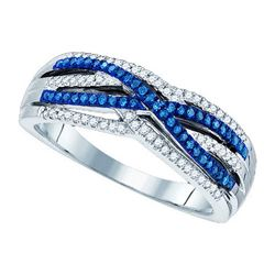 0.25CTW White and Blue Diamond Anniversary 10KT Ring White Gold
