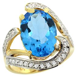Natural 6.22 ctw swiss-blue-topaz & Diamond Engagement Ring 14K Yellow Gold - SC-R308101Y04-REF#134X