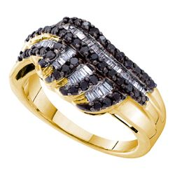 0.75CTW White and Black Diamond Bridal 14KT Ring Yellow Gold
