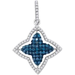 0.50CTW White and Blue Diamond Anniversary 10KT Pendant White Gold