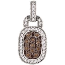 0.50CTW White and Champagne Diamond Micro-Pave 10KT Pendant White Gold
