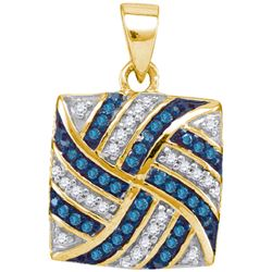 0.25CTW White and Blue Diamond Micro-Pave 10KT Pendant Yellow Gold