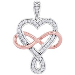 0.10CT Diamond Heart 10KT Pendant 2Tone Gold