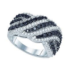 1.50CTW White and Black Diamond Anniversary 10KT Ring White Gold