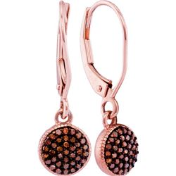 0.20CTW White and Champagne Diamond Anniversary 10KT Earrings Rose Gold