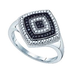 0.25CTW White and Black Diamond Micro-Pave 10KT Ring White Gold
