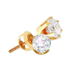 1.50CT Diamond Stud 14KT Earrings Yellow Gold