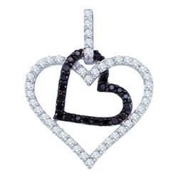 0.50CTW White and Black Diamond Heart 10KT Pendant White Gold
