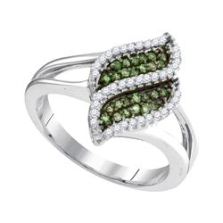 0.33CTW White and Green Diamond Anniversary 10KT Ring White Gold