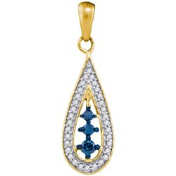 0.20CTW White and Blue Diamond Anniversary 10KT Pendant Yellow Gold