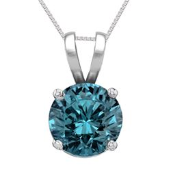 14K White Gold Jewelry 1.01 ct Blue Diamond Solitaire Necklace