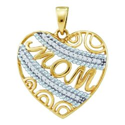 0.10CT Diamond Mom 10KT Pendant Yellow Gold