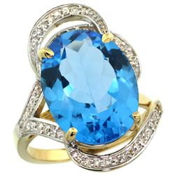 Natural 11.23 ctw swiss-blue-topaz & Diamond Engagement Ring 14K Yellow Gold - SC-R309971Y04-REF#104