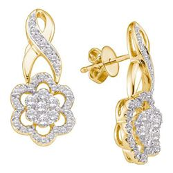 1.0CT Diamond Flower 14KT Earrings Yellow Gold