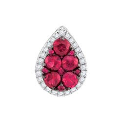1.0CT Diamond and 1CT Ruby Anniversary 14KT Pendant White Gold