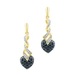 0.20CTW White and Black Diamond Anniversary 10KT Earrings Yellow Gold