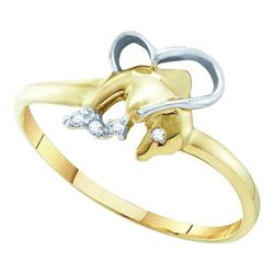 0.02CT Diamond Dolphin 10KT Ring Yellow Gold