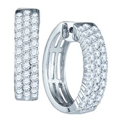 1.80CT Diamond Hoops 10KT Earrings White Gold