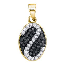 0.25CTW White and Black Diamond Micro-Pave 10KT Pendant Yellow Gold