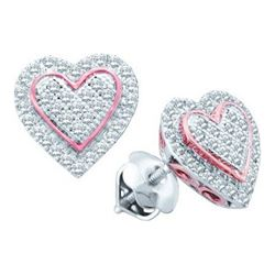 0.25CT Diamond Heart 10KT Earrings 2Tone Gold