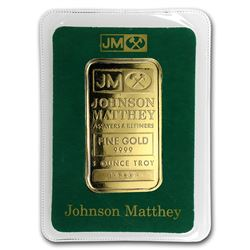 One pc. 1 oz .9999 Fine Gold Bar - Johnson Matthey In Assay