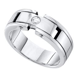 0.12CT Diamond Mens 14KT Ring White Gold