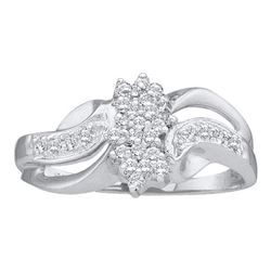 0.20CT Diamond Cluster 10KT Ring White Gold