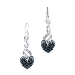 0.20CTW White and Black Diamond Anniversary 10KT Earrings White Gold