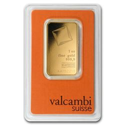 One pc. 1 oz .9999 Fine Gold Bar - Valcambi In Assay
