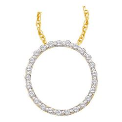 0.50CT Diamond Circle 14KT Pendant Yellow Gold