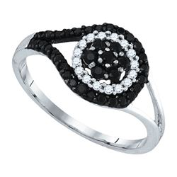 0.50CTW White and Black Diamond Anniversary 10KT Ring White Gold