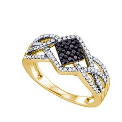 0.35CTW White and Black Diamond Anniversary 10KT Ring Yellow Gold