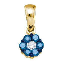 0.25CTW White and Blue Diamond Flower 10KT Pendant Yellow Gold