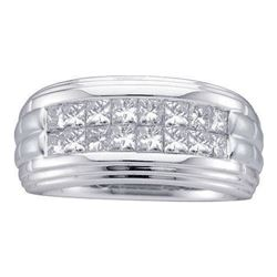 2.0CT Diamond Mens 14KT Ring White Gold
