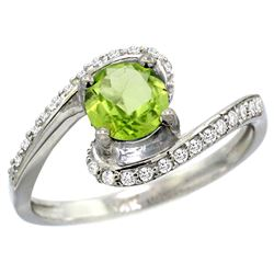 Natural 0.99 ctw peridot & Diamond Engagement Ring 10K White Gold - SC-10D312723W11-REF#42M2H