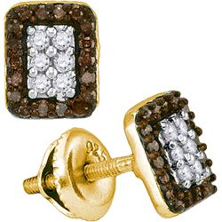 0.33CTW White and Champagne Diamond Micro-Pave 10KT Earrings Yellow Gold
