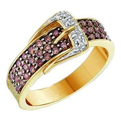 0.50CTW White and Champagne Diamond Anniversary 14KT Ring Yellow Gold
