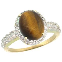 Natural 2.56 ctw Tiger-eye & Diamond Engagement Ring 14K Yellow Gold - SC-CY424138-REF#39Y7X