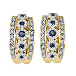 0.75CTW White and Black Diamond Anniversary 10KT Earrings Yellow Gold - GD62313